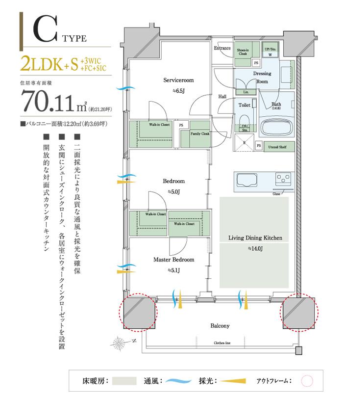 プレシス新宿御苑レザリス_間取り_70.11平米_2LDK+S+3WIC+FC+SIC