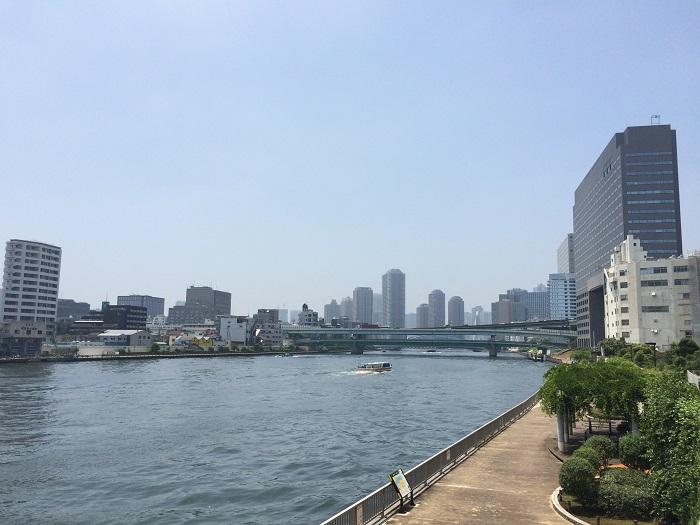 隅田川テラスを清州川より眺めた写真