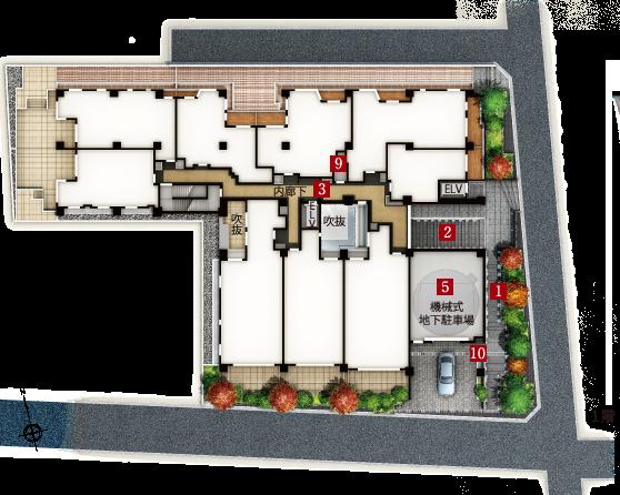 ザ・パークハウス市谷甲良町_敷地配置図