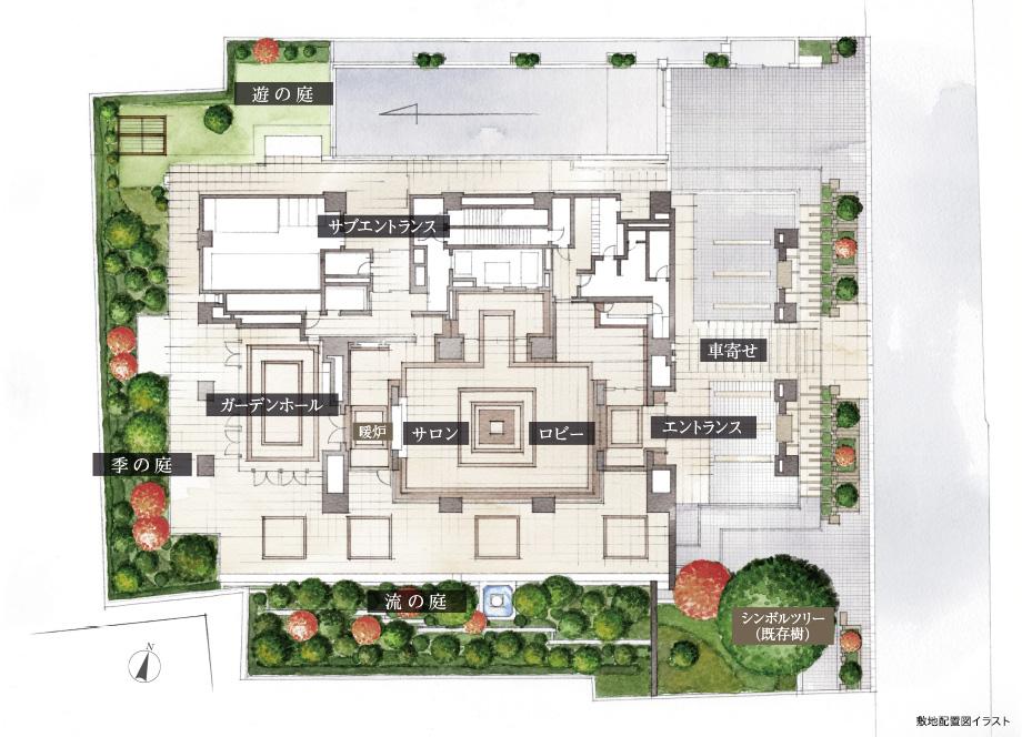 ブランズザハウス一番町_敷地配置図