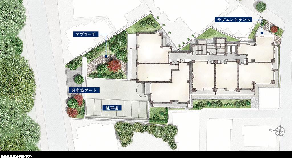 ブランズ渋谷常盤松の敷地配置