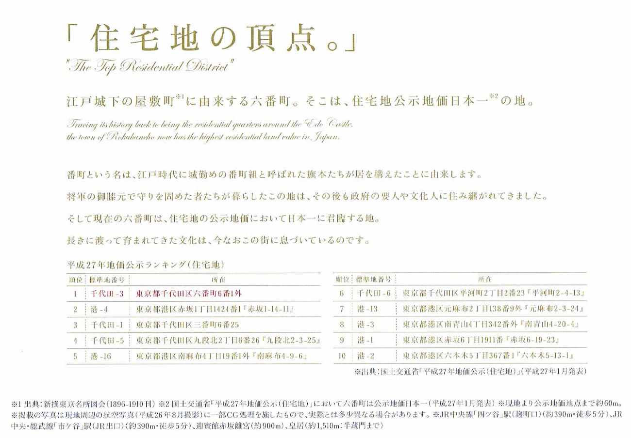 プレミスト六番町の価格・坪単価は?千代田区六番町の住宅地公示価格は日本一。高いマンション