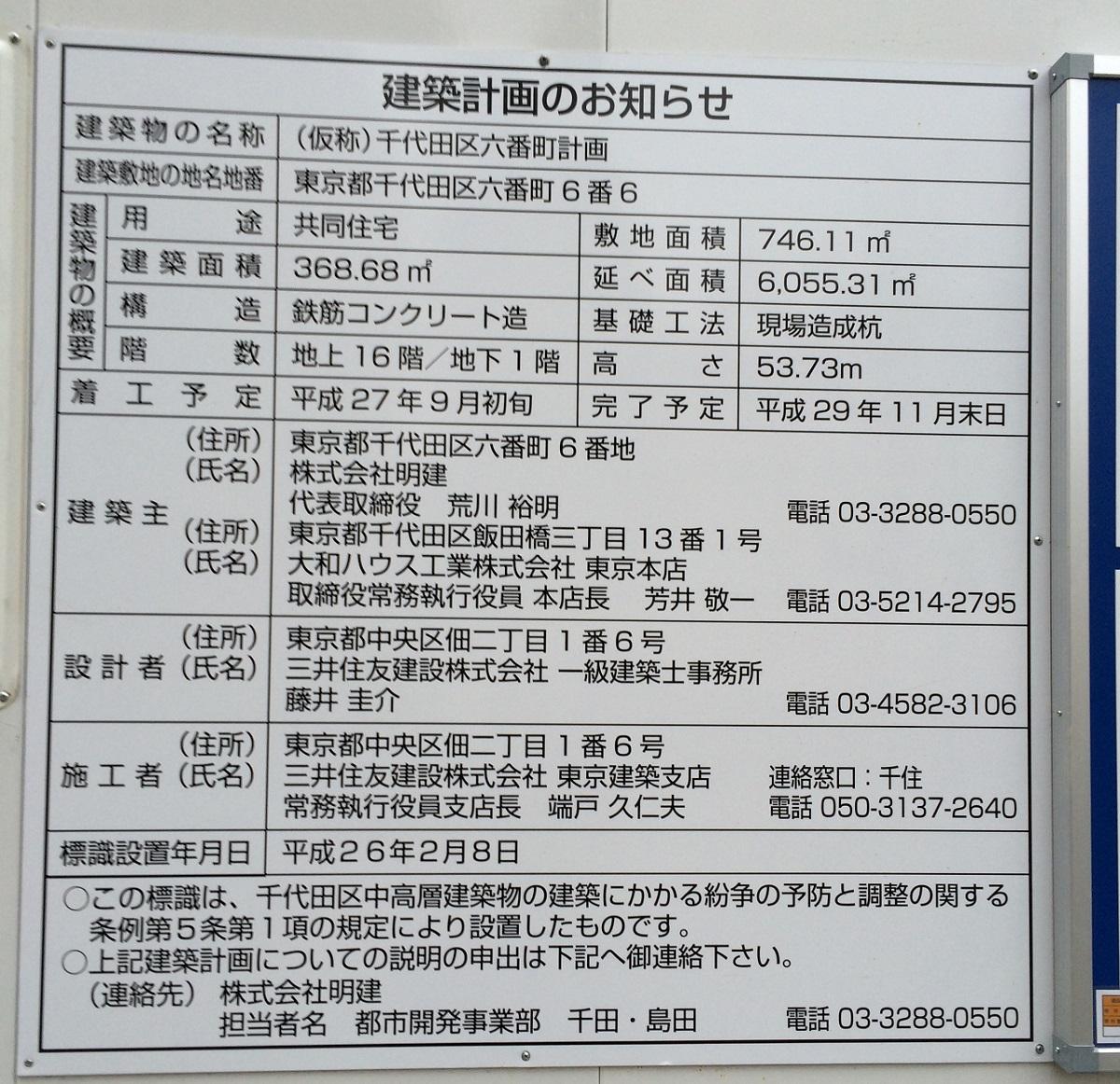 プレミスト六番町の建設計画。大和ハウスの千代田区六番町高級マンション