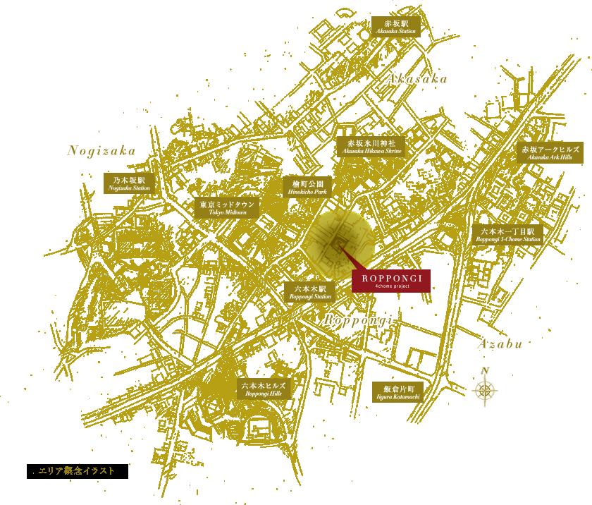 六本木4丁目プロジェクトの周辺地図画像。住所は東京都港区六本木四丁目28-5