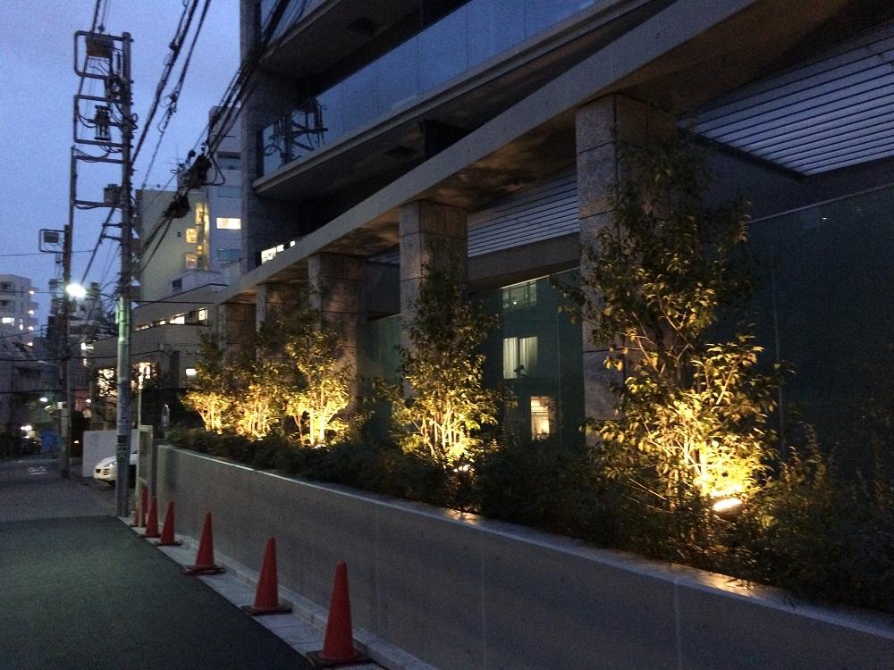 シティハウス神宮北参道の工事進捗現地画像_2016年3月_夜_坂上斜め