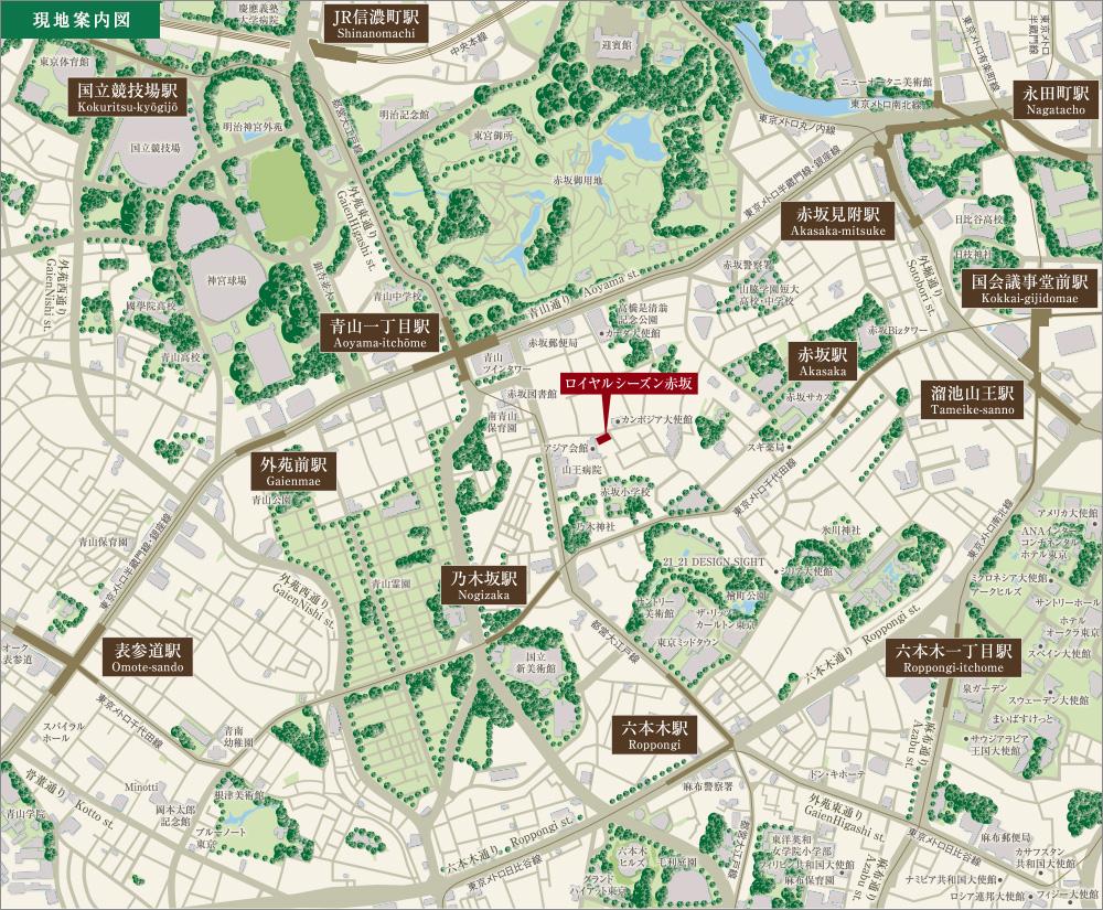 ロイヤルシーズン赤坂_HP_住所(港区赤坂8-227-1,2地番)、地図