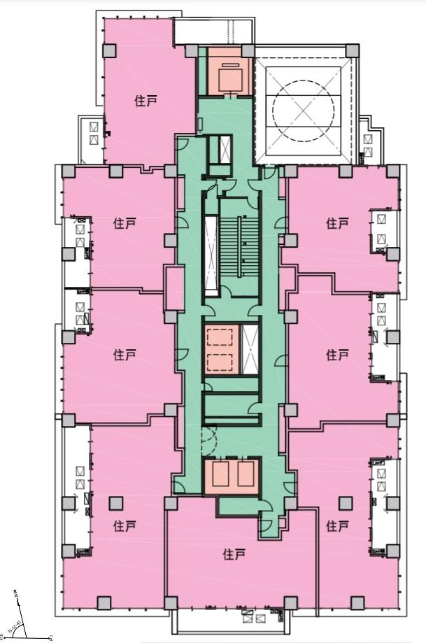 新宿区四谷4丁目計画の基準階のフロアマップ